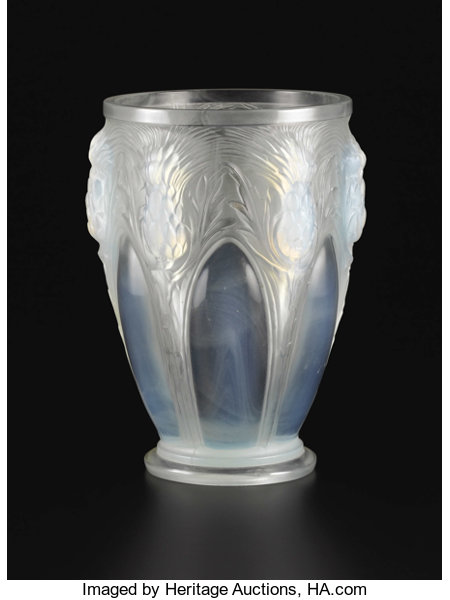 A French Opalescent Molded Art Glass Vase Verlys France Lot