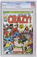 Bronze Age (1970-1979):Humor, Crazy! #1 (Marvel, 1973) CGC NM+ 9.6 White pages....