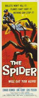 "The Spider (AIP, 1958). Insert (14"" X 36""). Rock 'N Roll sends an almost dead giant spider into a frenzy and i..."