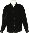 "Music Memorabilia:Costumes, Elvis Presley's Monogrammed Shirt. A black velvet Lansky Bros.shirt with silver-and-onyx buttons and the initials ""EP"" mono..."
