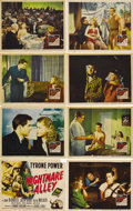 "Movie Posters:Film Noir, Nightmare Alley (20th Century Fox, 1947). Lobby Card Set of 8 (11""X 14""). Tyrone Power as a carnival psychic, defrauds peop...(Total: 8 Item)"