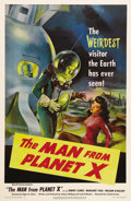 "Movie Posters:Science Fiction, The Man from Planet X (United Artists, 1951). One Sheet (27"" X41""). Edgar G. Ulmer, of ""Black Cat"" fame, directed this thri..."