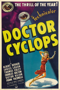 """Doctor Cyclops (Paramount, 1940). One Sheet (27"""" X 41""""). When four explorers in Peru discover the insane exper..."""