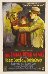 """The Fatal Warning (Mascot, 1929). One Sheet (27"""" X 41"""") Episode 4 -- """"The Pit of Peril."""" Mascot's la..."""