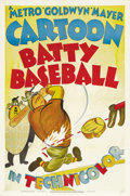 "Movie Posters:Animated, Batty Baseball (MGM, 1942). One Sheet (27"" X 41""). Tex Avery wasthe all-time master of the cartoon short. His crazy gags an..."