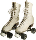 "Movie/TV Memorabilia:Costumes, Raquel Welch Costume Roller Skates from ""Kansas City Bomber."" A pair of vintage white leather roller skates, women's size 6 ..."