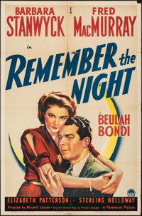 "Remember the Night (Paramount, 1940). Folded, Fine. One Sheet (27"" X 41""). Comedy"