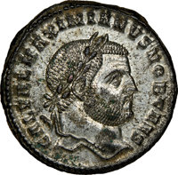 Ancients: Galerius, as Caesar (AD 305-311). BI follis or nummus (27mm, 9.07 gm, 6h). NGC MS★ 5/5 - 5/5, Silvering