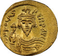 Ancients:Byzantine, Ancients: Phocas (AD 602-610). AV solidus (21mm, 4.30 gm, 7h). NGC MS 5/5 - 3/5, graffito, clipped....