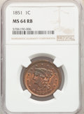 Large Cents, 1851 1C MS64 Red and Brown NGC. NGC Census: (45/62). PCGS Population: (102/77). CDN: $435 Whsle. Bid for NGC/PCGS MS64. Min...