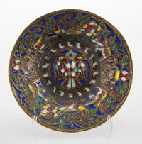 A Russian Cloisonné Enameled Silver Dish, late 19th-early 20th century 7/8 x 5 inches (2.2 x 12.7 cm)
