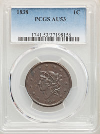 1838 1C AU53 PCGS. PCGS Population: (46/587). NGC Census: (26/475). CDN: $190 Whsle. Bid for NGC/PCGS AU53. Mintage 6,37...
