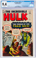Silver Age (1956-1969):Superhero, The Incredible Hulk #2 (Marvel, 1962) CGC NM 9.4 White pages....