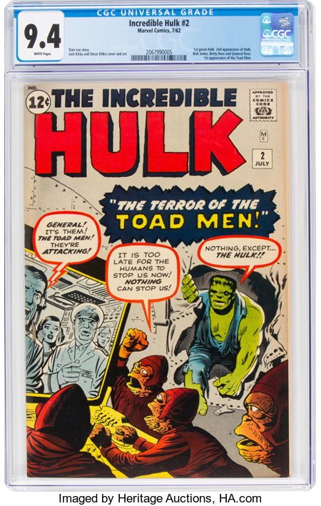 The Incredible Hulk #2 (Marvel, 1962) CGC NM 9.4 White pages....
