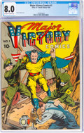 Golden Age (1938-1955):Superhero, Major Victory Comics #1 (H. Clay Glover Company, 1944) CGC VF 8.0 Off-white to white pages....