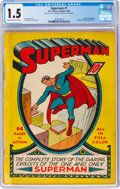 Golden Age (1938-1955):Superhero, Superman #1 (DC, 1939) CGC FR/GD 1.5 Cream to off-white pages....
