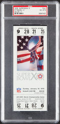Football Collectibles:Tickets, 1976 Super Bowl X (Steelers vs. Cowboys) Full Ticket, PSA NM-MT 8....