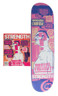 Collectible, Dave Kinsey X Strength. Metal Fallout!, 2002. Screenprint in colors on skate deck, with magazine. 32 x 8 inches (81.3 x ... (Total: 2 Items)