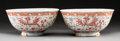 Ceramics & Porcelain, A Pair of Chinese Enameled Porcelain Phoenix Bowls, Qing Dynasty, Guangxu Period. Marks: Six-character Guangxu m... (Total: 2 Items)