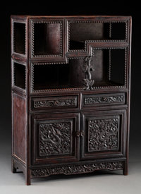 A Chinese Miniature Hardwood Display Cabinet, Qing Dynasty, 19th century 18-1/8 x 12-1/4 x 6 inches (46.0 x 31.1