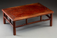 A Chinese Huanghuali and Burlwood-Inset Kang Table, Qing Dynasty, 18th-19th century or earlier 6-5/8 x 18-1/8 x 12