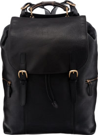 "Gucci Large Black Leather Backpack with Bamboo Handle Condition: 2 20"" Width x 22"" Height x 8"" De"