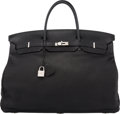 "Luxury Accessories:Bags, Hermès 55cm Black Leather Travel Birkin Bag with Palladium Hardware. K Square, 2007. Condition: 3. 22"" Width x 14...."