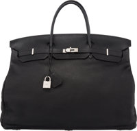 Hermès 55cm Black Leather Travel Birkin Bag with Palladium Hardware K Square, 2007 Condition: 3</