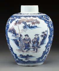 A Dutch Delft Blue, White, and Manganese Ovoid Jar with Chinoiserie Vignettes, 17th century 10-1/4 x 8-1/2 inches