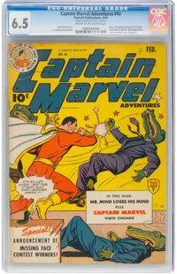 Captain Marvel Adventures #43 - DAVE COCKRUM ESTATE (Fawcett Publications, 1945) CGC FN+ 6.5 Cream to off-white pages...