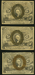 Fractional Currency:Second Issue, Fr. 1232 5¢ Second Issue XF;. Fr. 1232 5¢ Second Issue Fine-VF, internal split;. Fr. 1233 5¢ Second Issue VF-XF.. ... (Total: 3 notes)