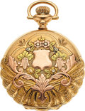 Timepieces:Pendant , Waltham 14k Multicolor Gold O Size, Fancy Dial, circa 1907. ...