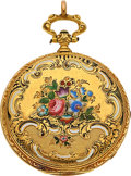Timepieces:Pocket (pre 1900) , Swiss 18k Gold & Enamel Key Wind, circa 1865