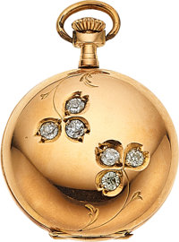 Swiss Diamond & Gold Pendant Watch, circa 1905