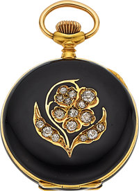 Swiss 18k Gold, Diamond & Enameled Pendant Watch, circa 1905