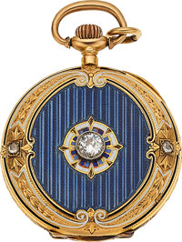 Swiss, Fine 18k Gold, Enamel & Diamond Pendant Watch, circa 1905