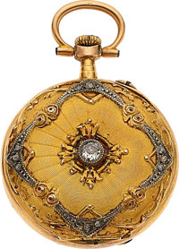 Swiss Miniature Diamond & Two Color Gold Pendant Watch, circa 1910