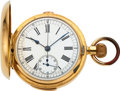 Timepieces:Pocket (post 1900), Swiss 18k Gold Repeater, Chronograph, For Repair, circa 19...