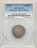 Colonials, 1783 SHILNG Chalmers Shilling, Short Worm Fine 12 PCGS. PCGS Population: (5/54). NGC Census: (1/19). ...
