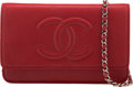"""Luxury Accessories:Accessories, Chanel Red Caviar Leather Wallet on Chain with Silver Hardware. Condition: 2. 7.5"""" Width x 5"""" Height x 1"""" Depth. ..."""