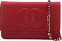 """Chanel Red Caviar Leather Wallet on Chain with Silver Hardware Condition: 2 7.5"""" Width x 5"""" Heigh"""