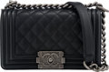 "Luxury Accessories:Bags, Chanel Black Quilted Caviar Leather Small Boy Bag . Condition: 3. 8"" Width x 5"" Height x 3"" Depth. ..."