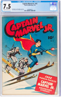 Captain Marvel Jr. #15 (Fawcett Publications, 1944) CGC VF- 7.5 Cream to off-white pages