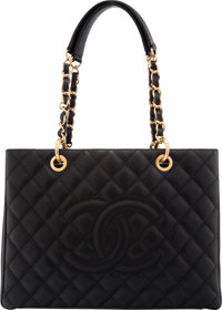 """Chanel Black Quilted Caviar Leather Grand Shopping Tote Bag with Gold Hardware Condition: 2 13"""" W"""