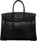 Luxury Accessories:Bags, Hermès Limited Edition 35cm So Black Calf Box Leather Birkin Bag with PVD Hardware. O Square, 2011. Condition: 3. ...