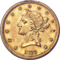 1839 $10 Small Letters, Head of 1840, AU58 PCGS....(PCGS# 8580)