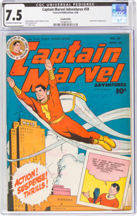 Captain Marvel Adventures #59 Cookeville Pedigree (Fawcett Publications, 1946) CGC VF- 7.5 Off-white to white pages
