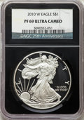 2006-W $1 Silver Eagle PR69 Ultra Cameo NGC. This lot will also include the following: 2007-W $1 Silver Eagle PR69 Ultr...