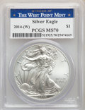 Modern Bullion Coins, 2014-(W) $1 Silver Eagle, Struck at West Point MS70 PCGS. PCGS Population: (30384). NGC Census: (2999). MS70. ...