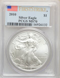 Modern Bullion Coins, 2010 $1 Silver Eagle, First Strike MS70 PCGS. PCGS Population: (25821). NGC Census: (44158). ...